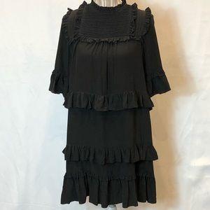Ulla Johnson black silk tiered dress size 6